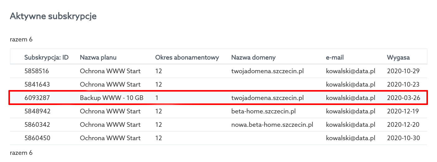 Na liście aktywnych subskrypcji kliknij nazwę usługi Backup WWW.