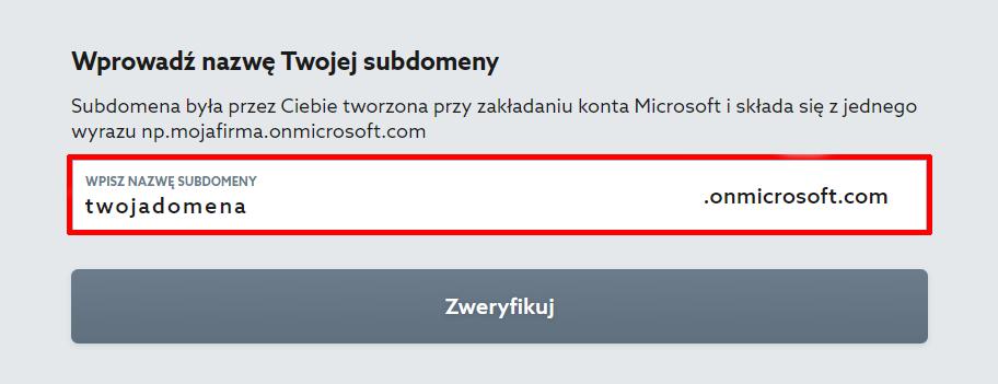 Wprowadź nazwę istniejącej subdomeny, aby zamówić Microsoft 365 do istniejącego konta Microsoft.