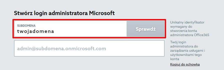 Aby zamówić Microsoft 365 wpisz nazwę subdomeny dla nowego konta Microsoft.