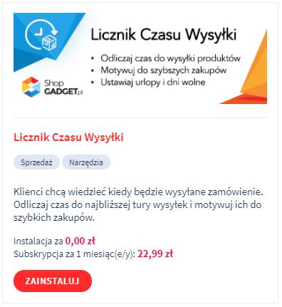 Aplikacja w eSklepie: Licznik czasu wysyłki