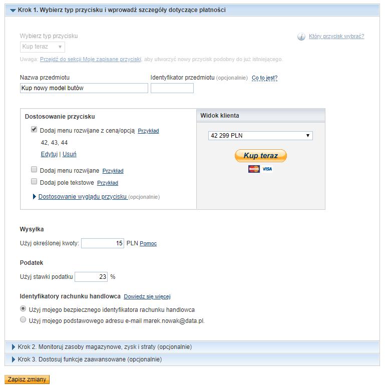 Edycja przycisków PayPal dla strony internetowej WordPress