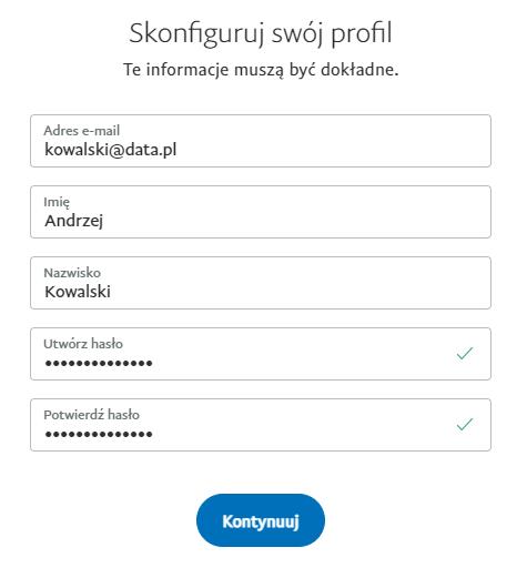 Podaj dane abonenta usługi PayPal