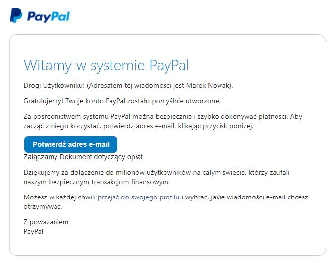 Potwierdź wiadomość e-mail i aktywuj konto PayPal