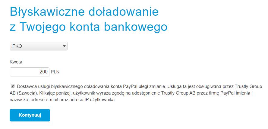 Płatności PayPal - doładowanie portfela elektronicznego