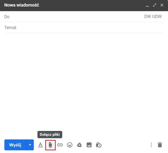 Wysyłanie dużych plików przez pocztę Gmail- dołącz pliki