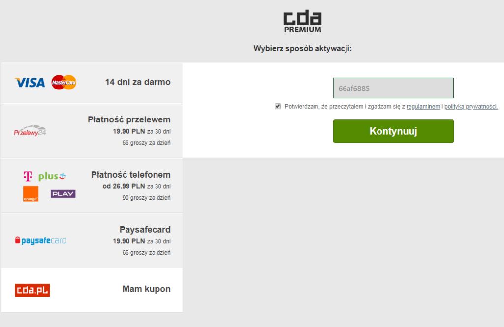 Aktywacja CDA Premium dla użytkowników serwisu - filmy i seriale z lektorem i napisami