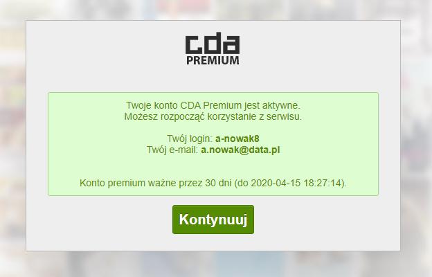 CDA Premium - aktywacja konta uzytkownika