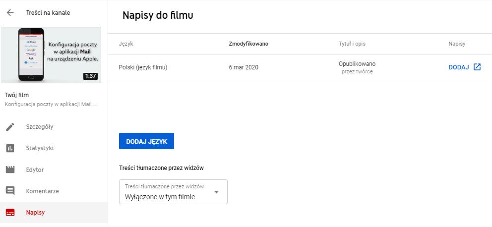 Wstawianie napisów do filmów w serwisie YouTube