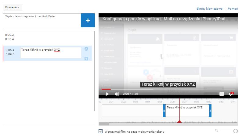 Zarządzanie napisami do filmów w serwisie YouTube