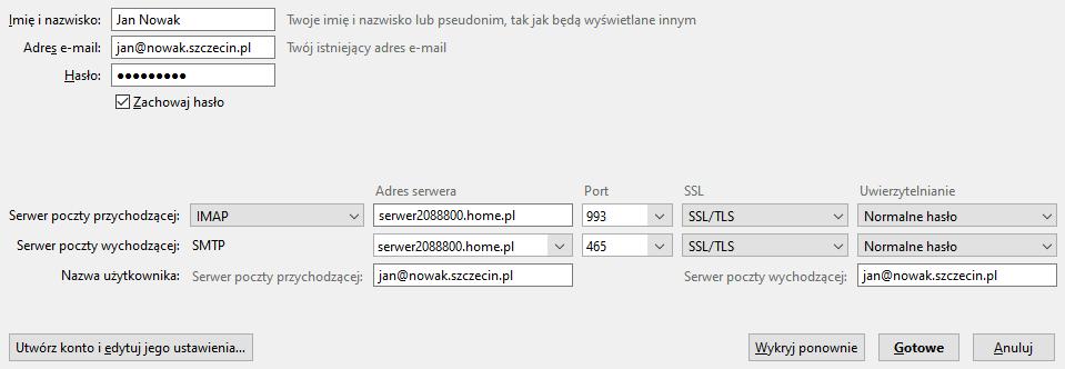 Konfiguracja zaawansowana przy automatycznej konfiguracji skrzynki w home.pl.