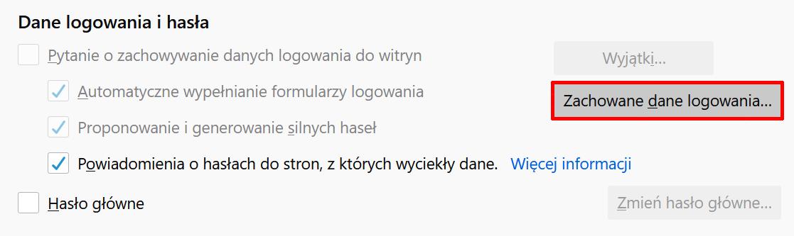 Kliknij przycisk: Zachowane dane logowania, aby wyświetlić zapisane hasła w Firefox.