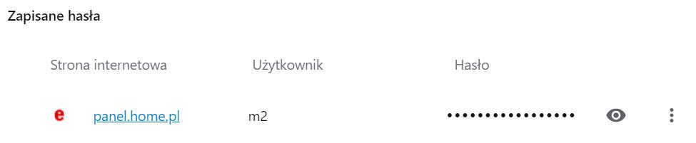 Opera: kliknij przycisk Oka przy odkryć hasło dostępu.