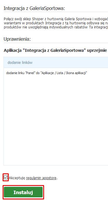 Integracja z Galeria Sportowa