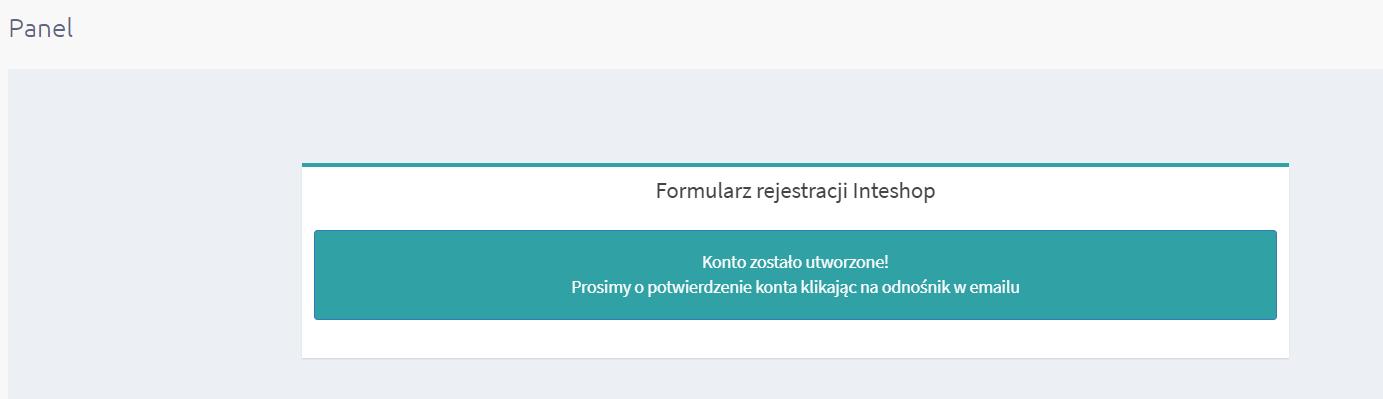 Konfiguracja aplikacji eSklep - formularz rejestracji