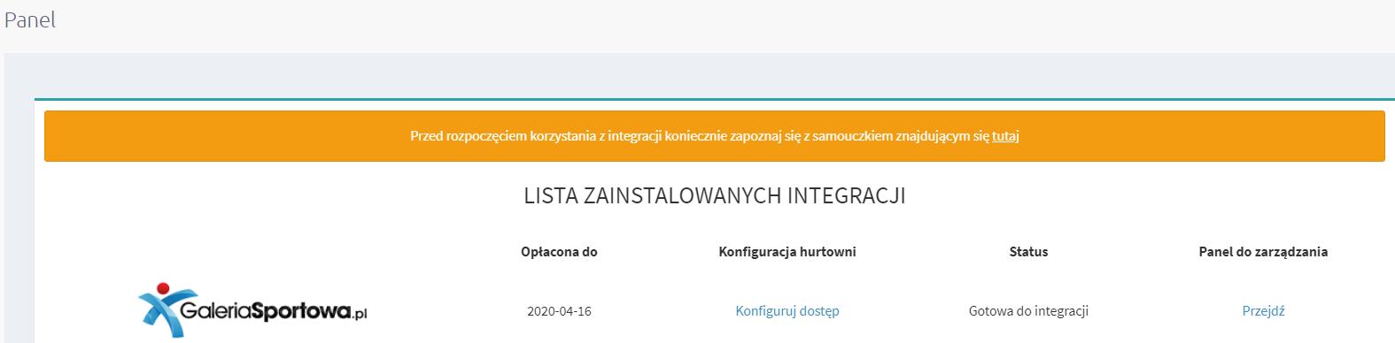 Konfiguracja aplikacji eSklep - lista zainstalowanych integracji