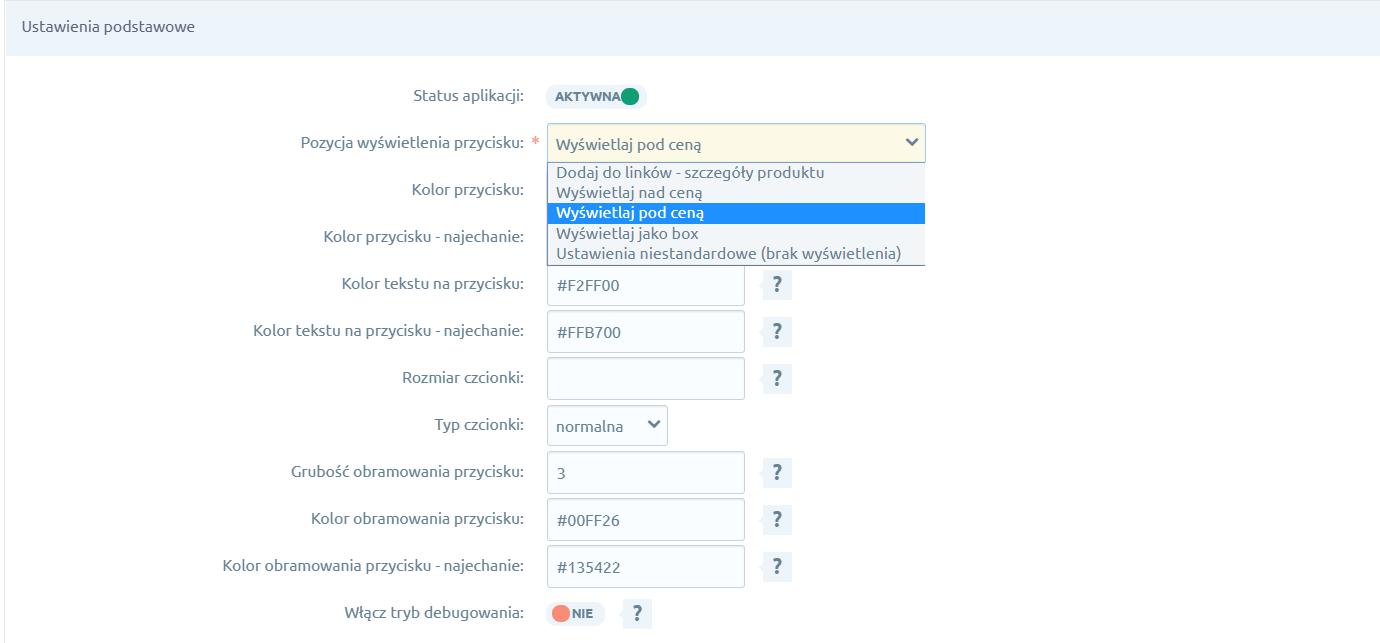 Opcje konfiguracji aplikacji. Pozycja wyświetlania przycisku