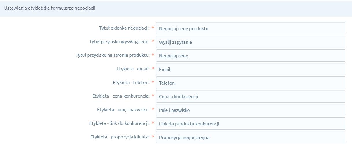 Aplikacja eSklep - ustawienia etykiet dla formularza negocjacji