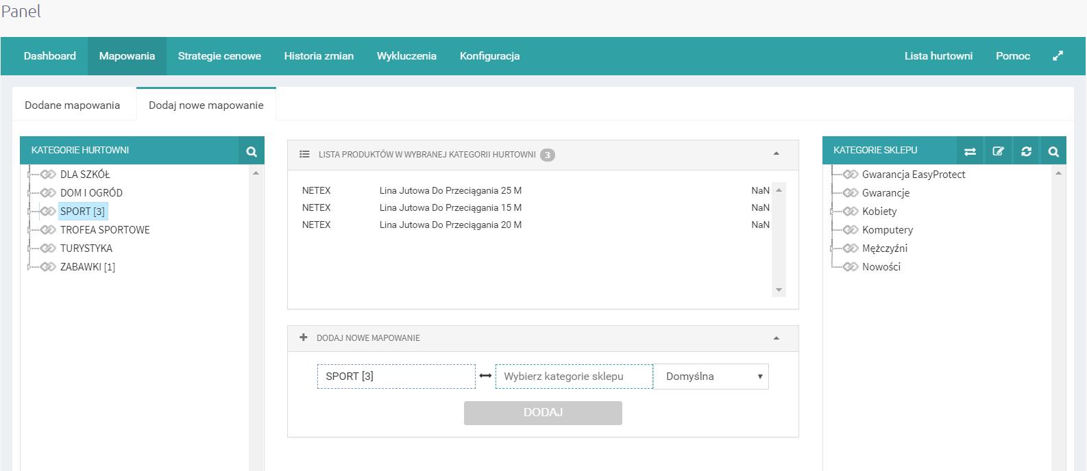 Konfiguracja aplikacji eSklep - mapowanie