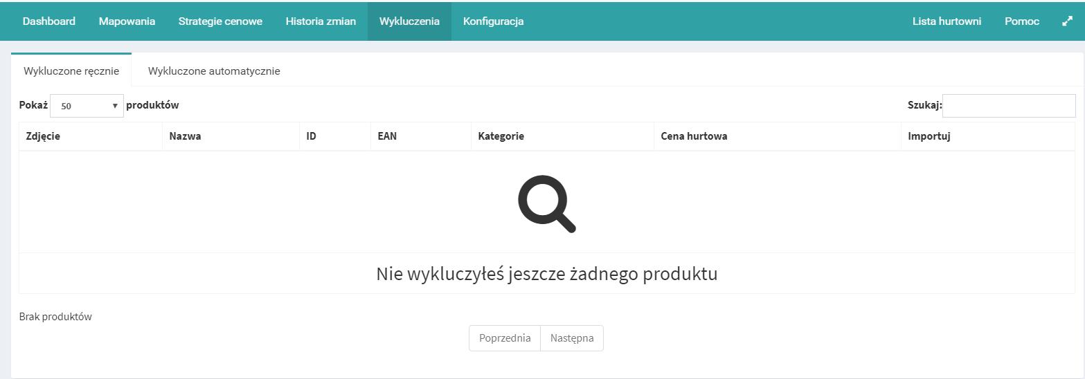 Konfiguracja aplikacji eSklep - wykluczanie produktów