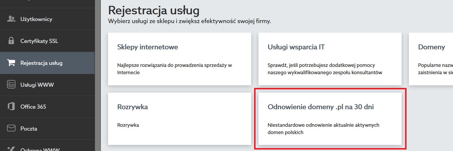 Jak odnowić domenę .pl na 30 dni?