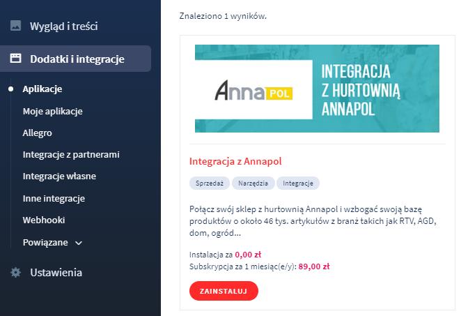 Aplikacja eSklep: Annapol (Inteshop)