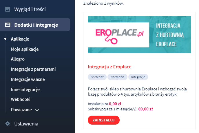 Aplikacja: Integracja z Eroplace