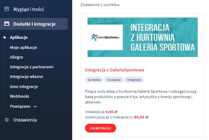 Aplikacja eSklep: Integracja z Galeria Sportowa