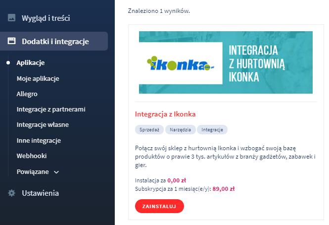 Aplikacja eSklep: Integracja z Ikonka (Inteshop)