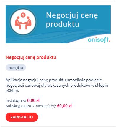 Aplikacja eSklep: Negocjuj cenę produktu