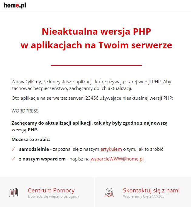 Aktualizacja aplikacji i korzystanie z najnowszej wersji PHP