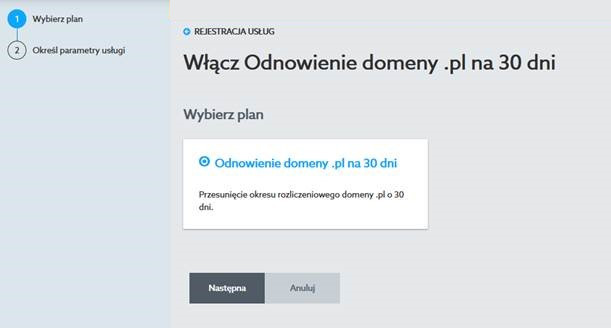 Wybierz plan - Odnowienie domeny .pl na 30 dni