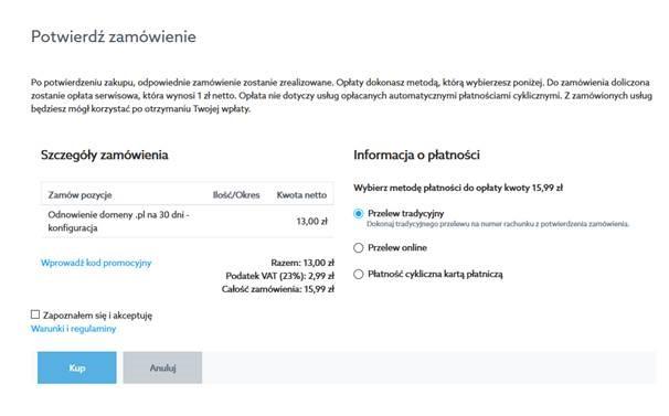 Potwierdź zamówienie - odnowienie domeny .pl na 30 dni
