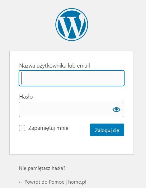 WordPress - panel logowania do serwisu