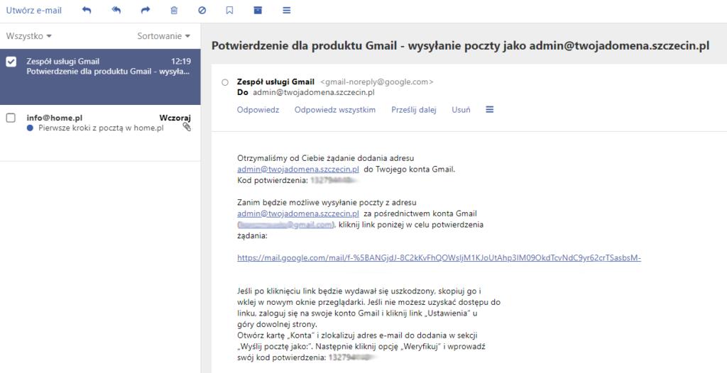 Aktywacja konta zewnętrznego w poczcie Gmail