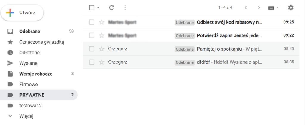 Obsługa etykiet w poczcie Gmail