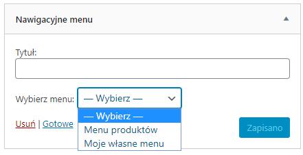 Wstawianie menu jako widget strony internetowej WordPress