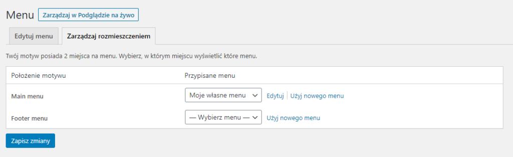 Zarządzanie rozmieszczeniem Menu WordPress