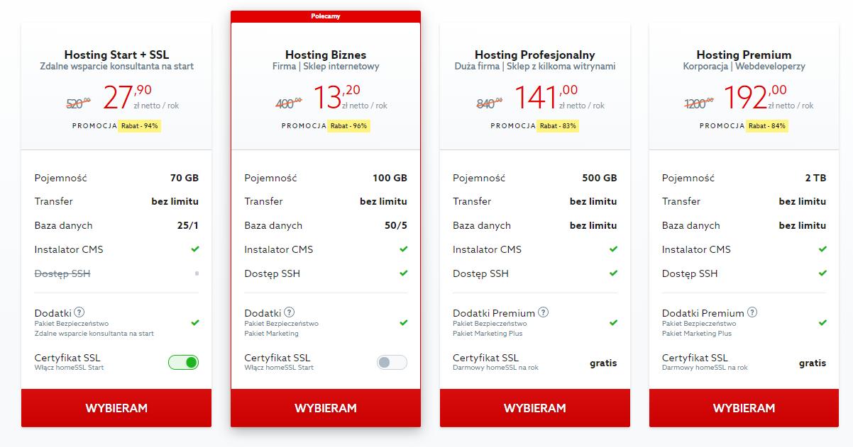 Przykładowa oferta na hosting stron internetowych