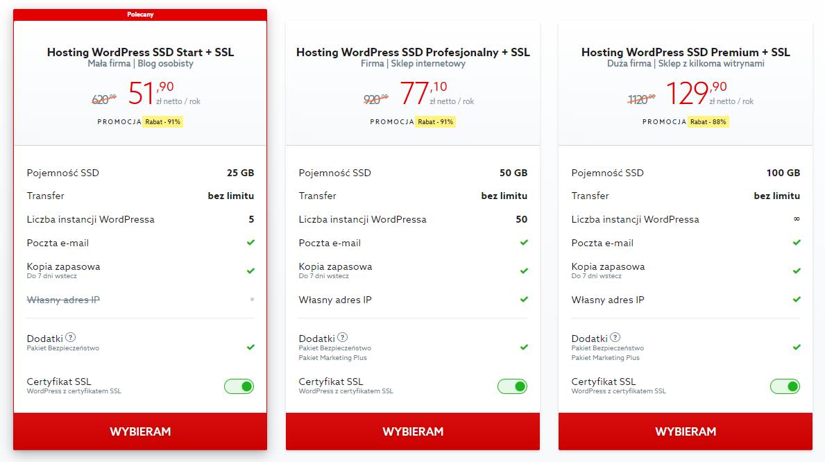 Przykładowa oferta na hosting dedykowany do obsługi CMS WordPress