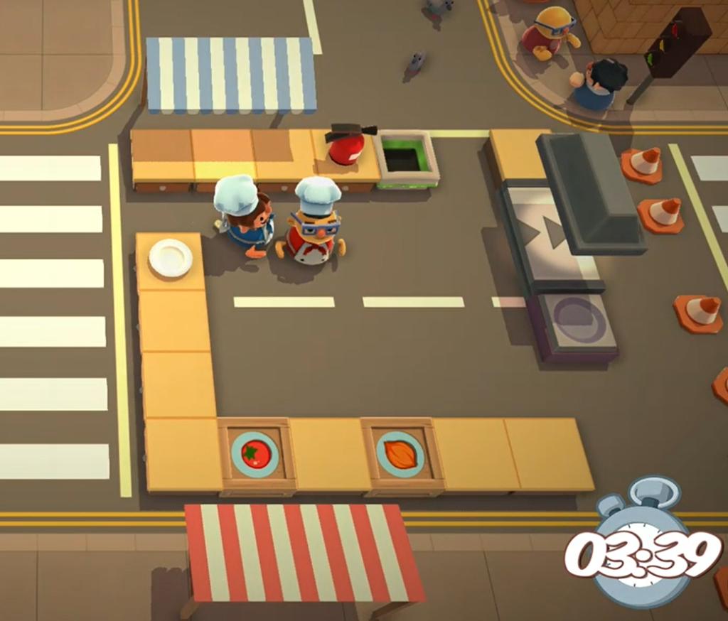 Tryb multiplayer na podzielonym ekranie w grze overcooked