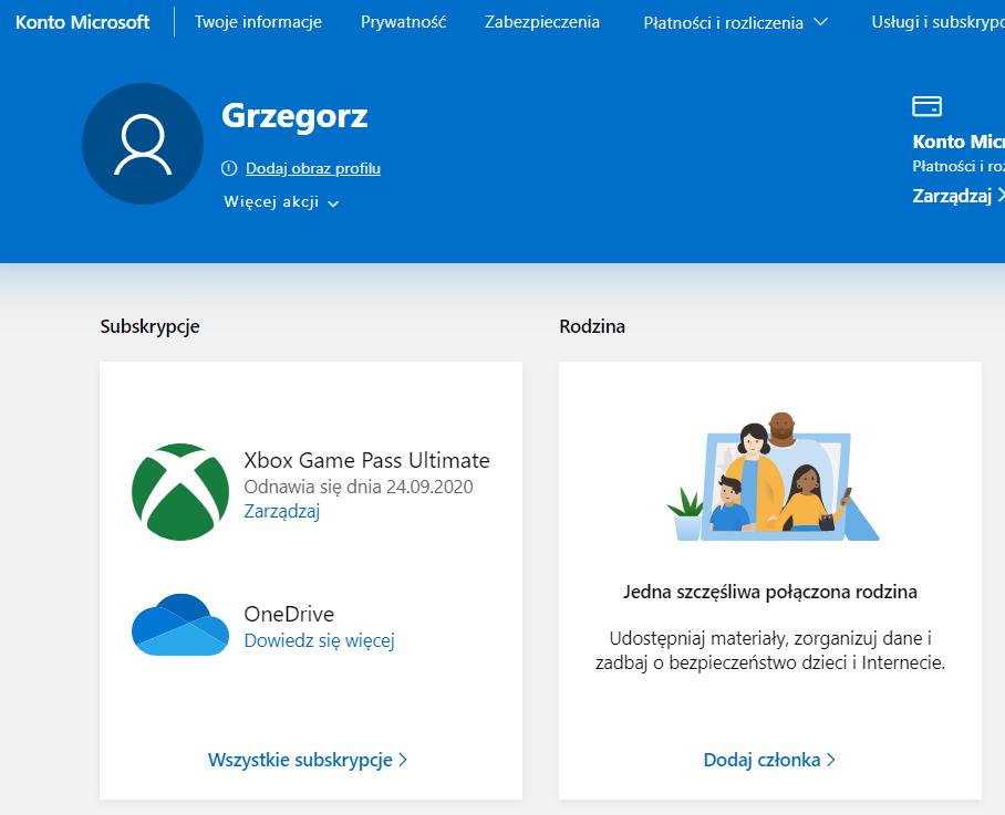 Zarządzanie kontem Microsoft i subskrypcjami Xbox