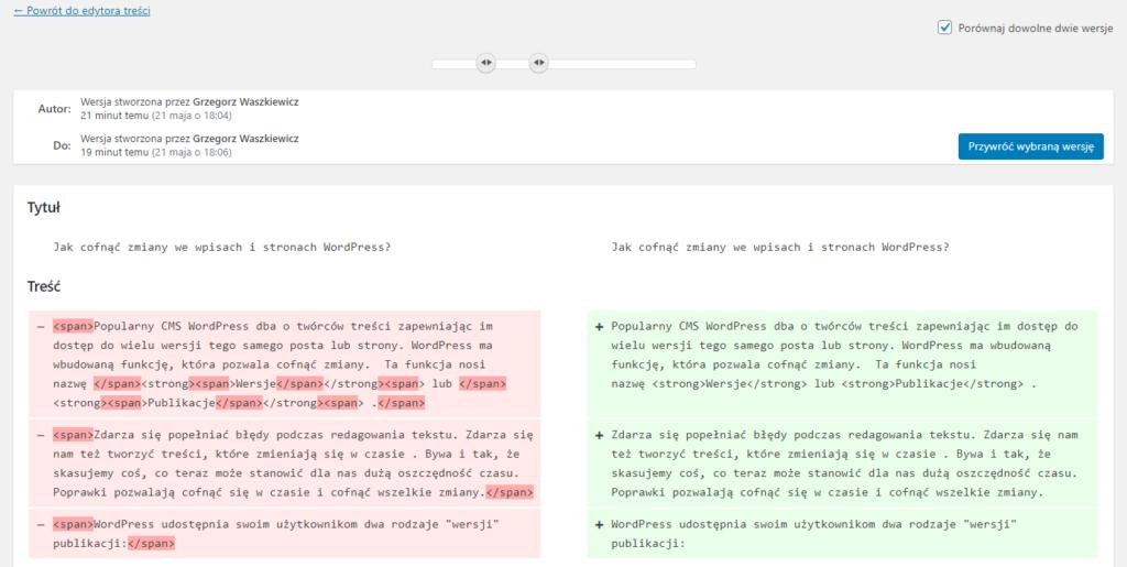 Jak cofnąć zmiany we wpisach i stronach WordPress?