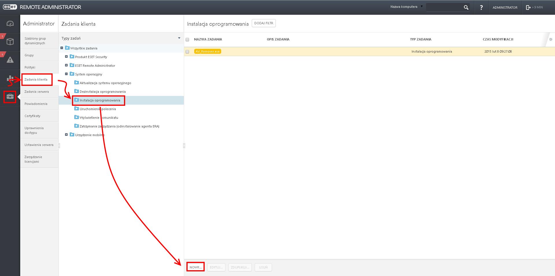 Jak zainstalować ESET Endpoint Security lub ESET Endpoint Antivirus przez konsolę administracyjną?