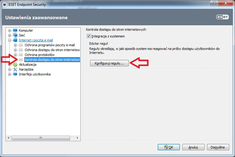 Jak zablokować możliwość odwiedzania określonych stron internetowych w ESET Endpoint