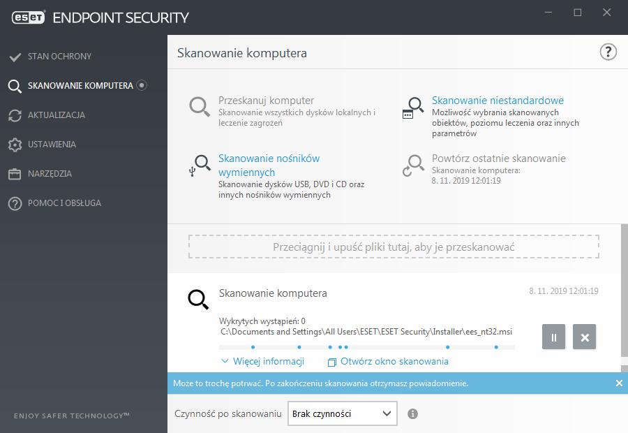 Widok interfejsu aplikacji ESET Endpoint dla zakładki Skanowanie komputera