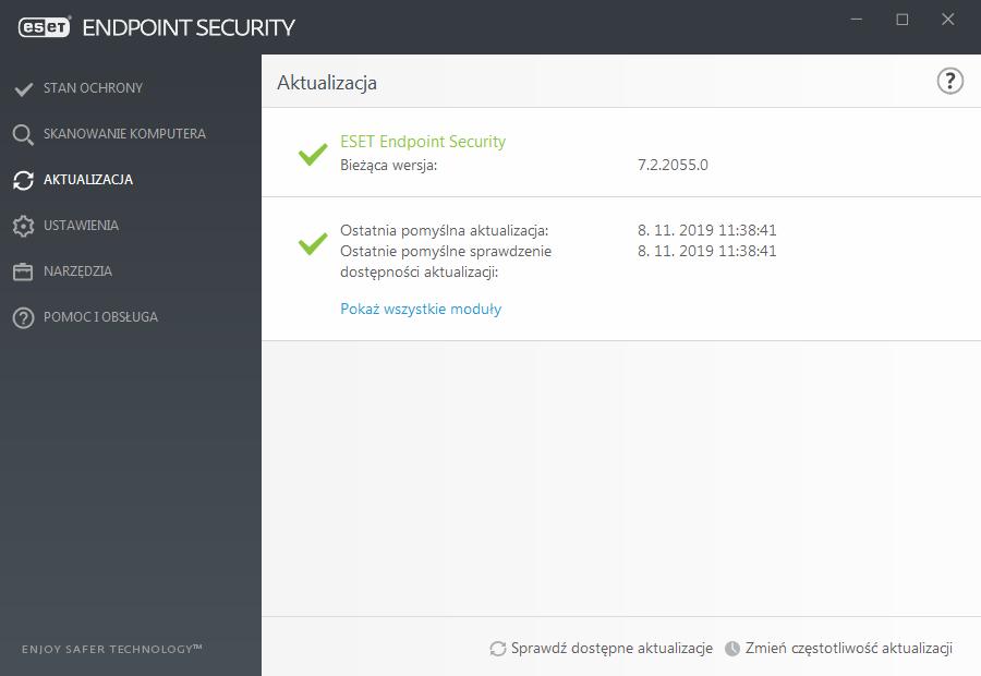 Widok interfejsu aplikacji ESET Endpoint dla zakładki Aktualizacja