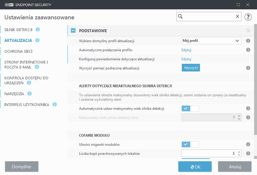 Widok interfejsu aplikacji ESET Endpoint dla zaawansowanych opcji aktualizacji programu ESET Endpoint