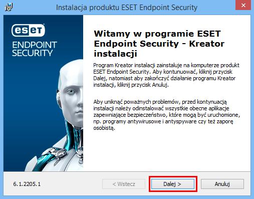 Rozpoczynasz instalację produktu ESET Endpoint, w zależności od wybranego wariantu: Security lub Antivirus.