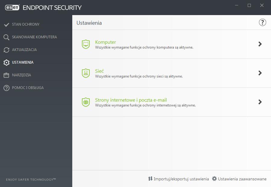 Widok interfejsu aplikacji ESET Endpoint dla funkcji ustawień