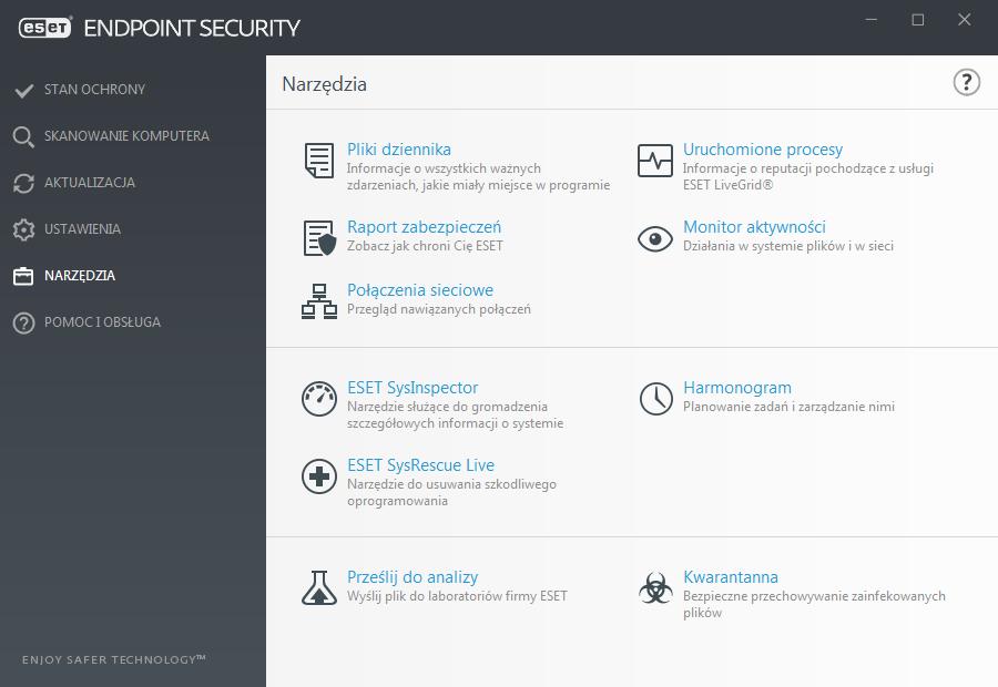 Widok interfejsu aplikacji ESET Endpoint dla funkcji Narzędzia